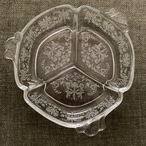 Heisey Orchid Etched Glass Relish Dish 3 Sections